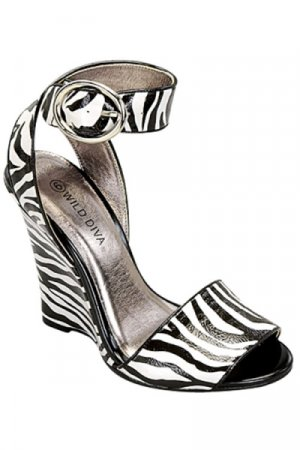 Wild Diva Zebra Wedge Sandal- Size 6.5