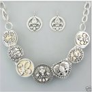 Fleur De Lis Dual Tone Necklace and Earring SET