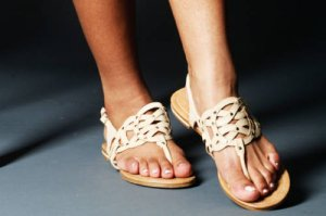 Soda Norema Cream/Beige and Gold Studded Thong Slip On