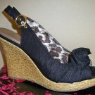 Qupid Satin Wedge Sandal- Size 6.5