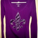 Fleur de Lis Long Sleeve V-Neck T - Size Large