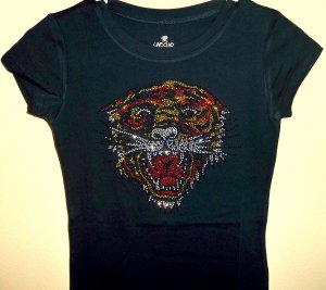 Rhinestone Tiger Short Sleeve V-Neck T - Size Large
