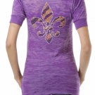 Rhinestone Tiger Stripe Fleur de Lis Short Sleeve V-Neck T - Size Large