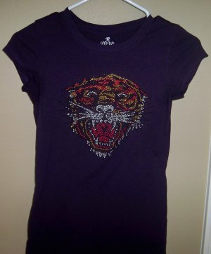 Size Small - Purple Rhinestone Tiger Short Sleeve V-Neck Tee