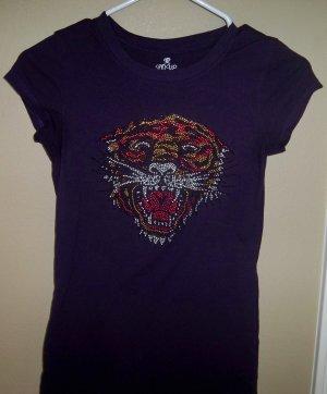 Size Large - Purple Rhinestone Tiger Short Sleeve V-Neck Tee