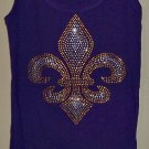Size Medium - Purple and Gold Fleur de Lis Tank Top