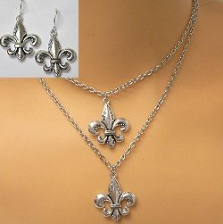 2 ROW FLEUR-DE-LIS NECKLACE SET