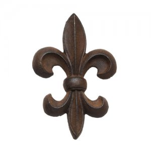Cast Iron Fleur de Lis Wall Decor - Brown 9""