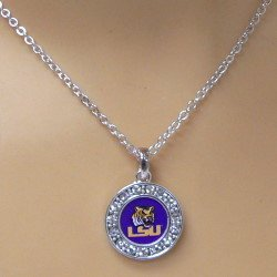 LSU NECKLACE WITH ROUND CRYSTAL PENDANT