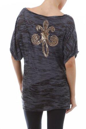 Size Large Rhinestone Fleur de Lis Short Sleeve Burnout Tunic