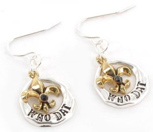 "Two-Tone ""Who Dat"" Fleur de Lis Earrings"