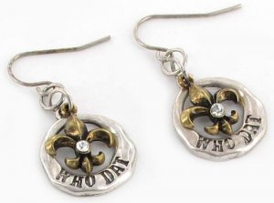 "Burnt Gold Two-Tone ""Who Dat"" Fleur de Lis Earrings"