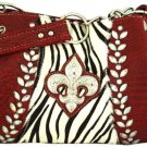 Croco and Zebra Fleur de Lis Satchel - RED
