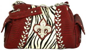 Croco and Zebra Fleur de Lis Satchel - RED