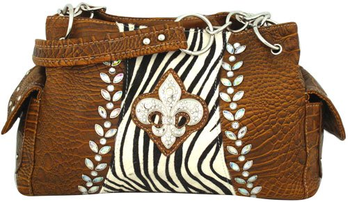 Croco and Zebra Fleur de Lis Satchel - BROWN