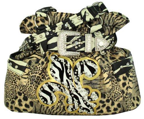 Brown Animal Print with Zebra Fleur de Lis Buckle Satchel