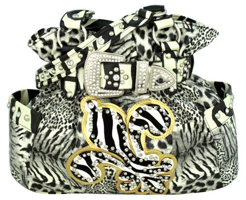 Black Animal Print with Zebra Fleur de Lis Buckle Satchel