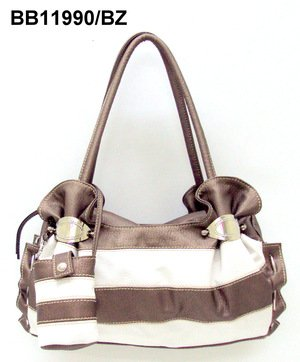 Bronze and White Stripe Handbag
