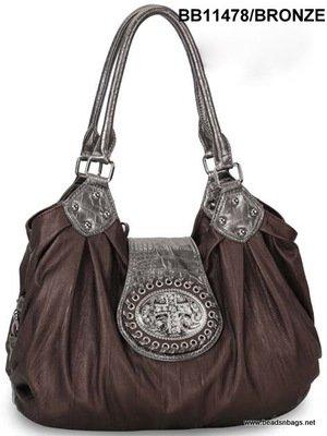 Bronze Cross Tote Handbag