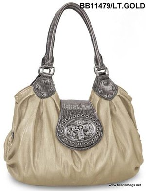 Light Gold Cross Tote Handbag
