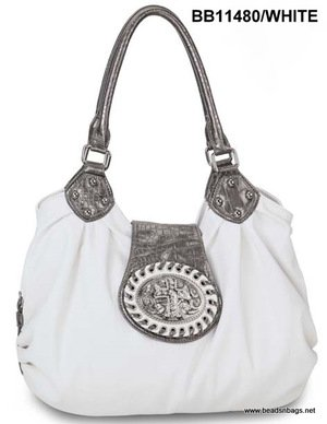 White Cross Tote Handbag