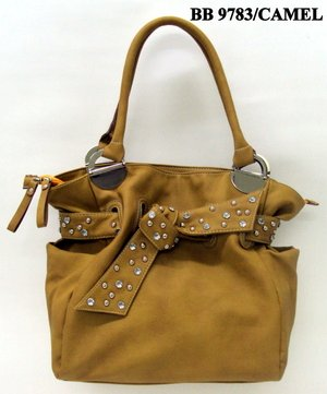 Camel and Stone Tie Tote Handbag - WITH COSMETIC CASE