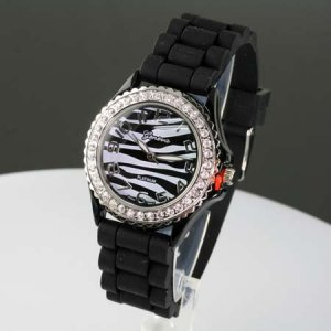 Black and White Zebra Jelly Band Watch