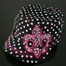 Black Rhinestone Fleur de Lis Polka Dot Hat
