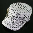 White Rhinestone Fleur de Lis Polka Dot Hat