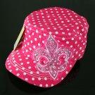 Hot Pink Rhinestone Fleur de Lis Polka Dot Hat