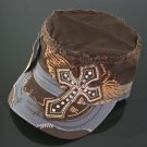 Trendy Brown & Grey Rhinestone Cross Hat