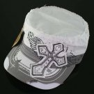 Trendy White & Grey Rhinestone Cross Hat