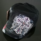 Trendy Black Rhinestone Cross & Wings Hat