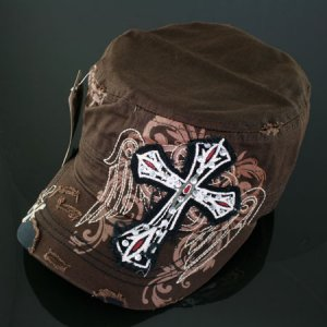Trendy Brown Rhinestone Cross & Wings Hat
