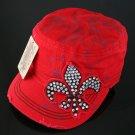 Red Rhinestone Fleur de Lis Hat