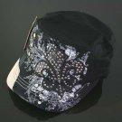 Black Rhinestone Fleur de Lis Hat