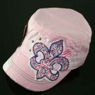 Pink and Purple Rhinestone Fleur de Lis Hat