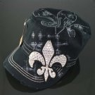 Solid Black with White Rhinestone Fleur de Lis Hat