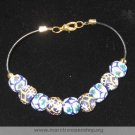 """8"""" Blue & White Flower Beaded Bracelet - Item #: TR-2DD"""