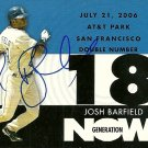 2007 Topps Update Generation Now Josh Barfield Autograph