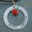 Teacher Necklace - Personalized Handstamped Necklace