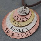 *** Textured Family Five *** Personalized Handstamped Keepsake Necklace