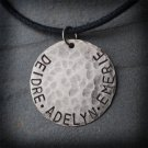 Daddy's Pride and Joy - Handstamped Hammered Silver Necklace