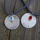 Sterling Silver Friendship Necklaces   --- Set of 2 ---  Handstamped and Personalized Necklaces
