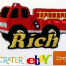 Custom Personalized Iron-on Patch - Fire Truck