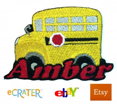 Custom Personalized Iron-on Patch - School Bus