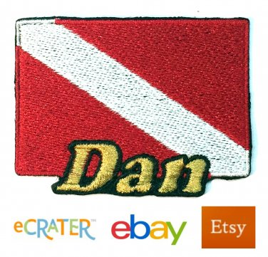 Custom Personalized Iron-on Patch - Scuba Diving Flag