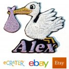 Custom Personalized Iron-on Patch - Stork with Baby