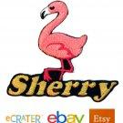 Custom Personalized Iron-on Patch - Flamingo