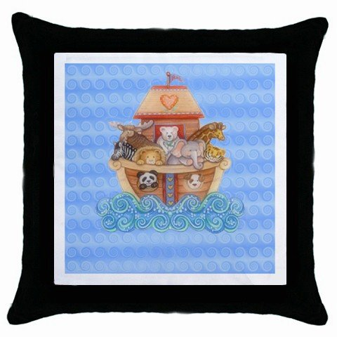 Baby Noah's Ark Throw Pillow Case bedroom baby nursery decor Black Border 17760237